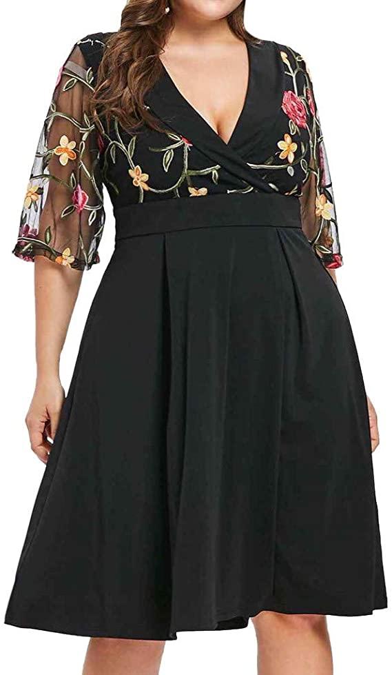 vestido casual para gorditas negro mangas transparentes